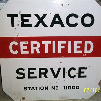 Double Sided Porcelain Texaco