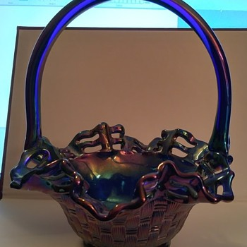 Fenton Basket Weave Blue Carnival Glass basket - Art Glass