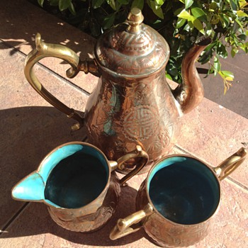 Chinese Brass and Copper Coffee Set - Asian