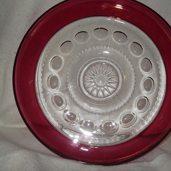 2 Tiffin King's  Crown cranberry flashed bowl/trays - Glassware