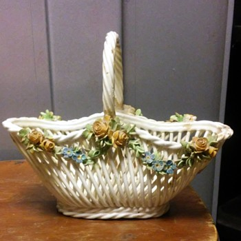 lattice basket and covered dish - Pottery