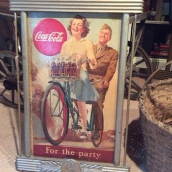 "Coca-Cola cardboard ""For the Party"" sign circa 1943 with Kay Advertising frame - Coca-Cola"