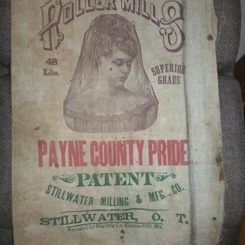 OKLAHOMA TERRITORY flour sacks pre-1903 - Rugs and Textiles