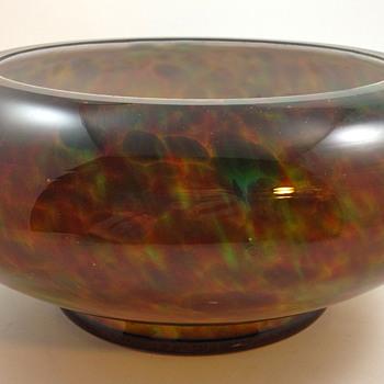 KRALIK FURNACE DECORATED BOWL, ca. 1930s - Art Glass
