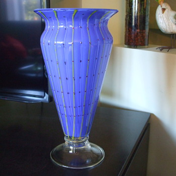Colourful Blue with Yellow Stripes URN-Shaped VASE- Italian or Bohemian? - Art Glass