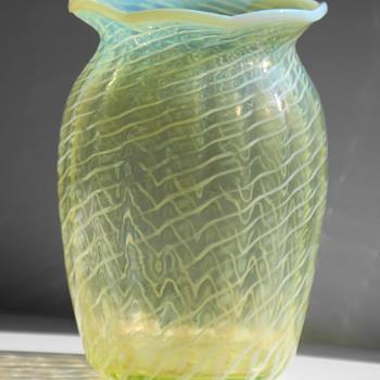John Walsh Walsh Vaseline Glass Vase