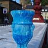 SOWERBY  MYTHICAL CREATURE MALACHITE GLASS VASE GATESHEAD