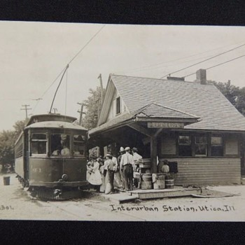 Interesting photo of Trolley Station in Utica, Illinois.