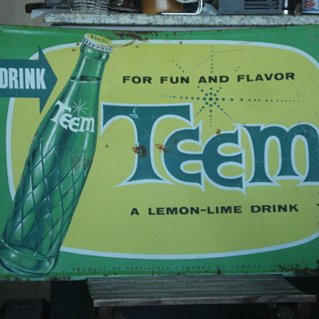 Vintage 1962 TEEM soda advertising sign. Awesome! - Advertising