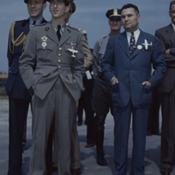 2 Secret and Invaluable P-39 Airacobra Brooches with photos of Larry Bell, Founder of Bell Aircraft and King Peter II of Yugosl