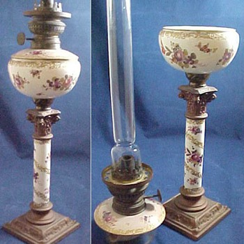 German Hand Painted Porcelain or China Kerosene Banquet Lamp w Brenner Kosmos Burner - Lamps
