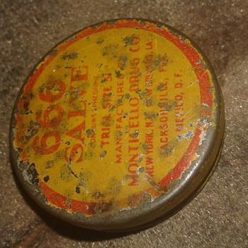 Circa 1920's 666 SALVE Tin Manufactured by Monticello Drug Co. - Advertising