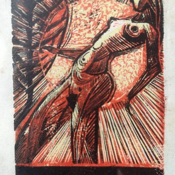 A miniature expressionist woodblock print by an artist P. K - Posters and Prints