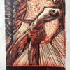 A miniature expressionist woodblock print by an artist P. K