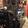 250lb Native American wood carved statue