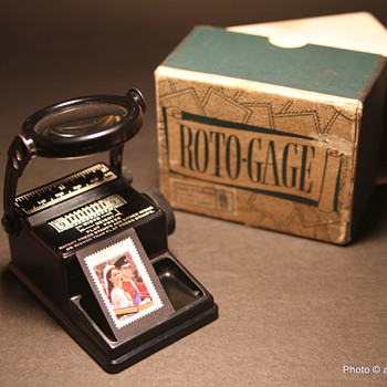 Roto-Gage, the stamp collector's vintage collectible gadget - Stamps
