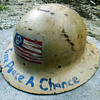 "Vintage Hippie ""Give Peace a Chance"" anti Vietnam War Painted Protest Helmet"