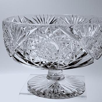 American Brilliant Cut Glass Footed Fern Dish - Glassware