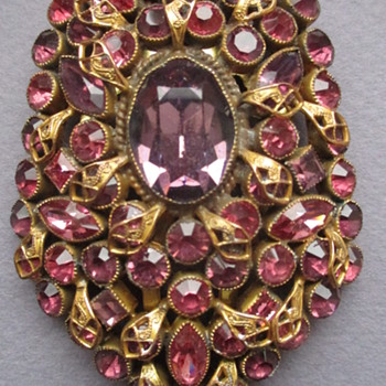 Circa 1937 Large Rhinestone Dress Clip - Could this be unsigned Hobe? - Costume Jewelry