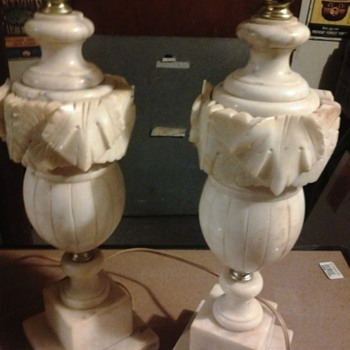 vintage marble and ivory table lamps - Lamps