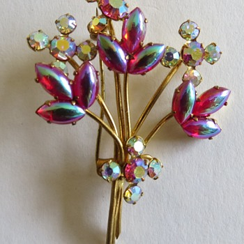 Floral Spray Brooch - Costume Jewelry