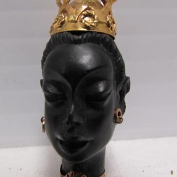 BLACKAMOOR EBONY PENDANT 18K GOLD TURQUOISE - Fine Jewelry