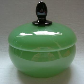 Czech Art Deco Tango Glass Lidded Bowl - Art Glass