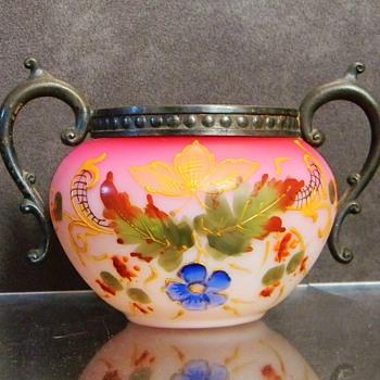 Bohemian? English? Peachblow Enamelled Pewter Sugar Bowl - Art Glass