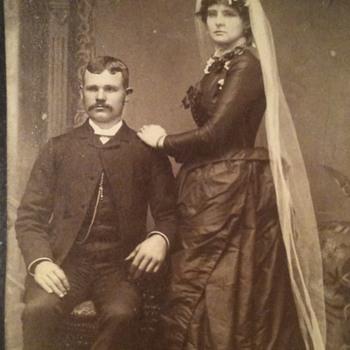 Black Wedding dress old photo  - Photographs