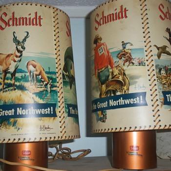 Set of vintage motion SCHMIDT beer lamps LES KOUBA , very cool!