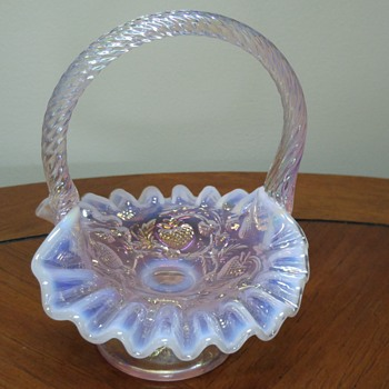 Fenton Champagne Opalescent basket - Art Glass