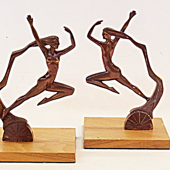 Vintage Art Deco Bronze Leaping Girl Mascots / Bookends by French Sculptor Morante circa 1925 - Art Deco