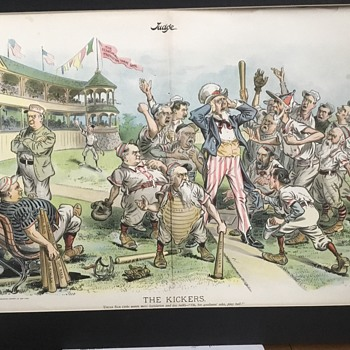 "1897 JUDGE "" The Kickers "" Print by Victor Gillam Political Satire  - Baseball"