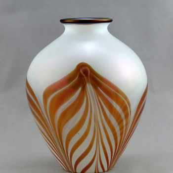 Fenton Off Hand Line Vase w Karnak Red Pulled Feather Décor in Opal ca. 1925-26 - Art Glass