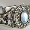 Antique Ceylon Moonstone Sapphire Silver Bracelet