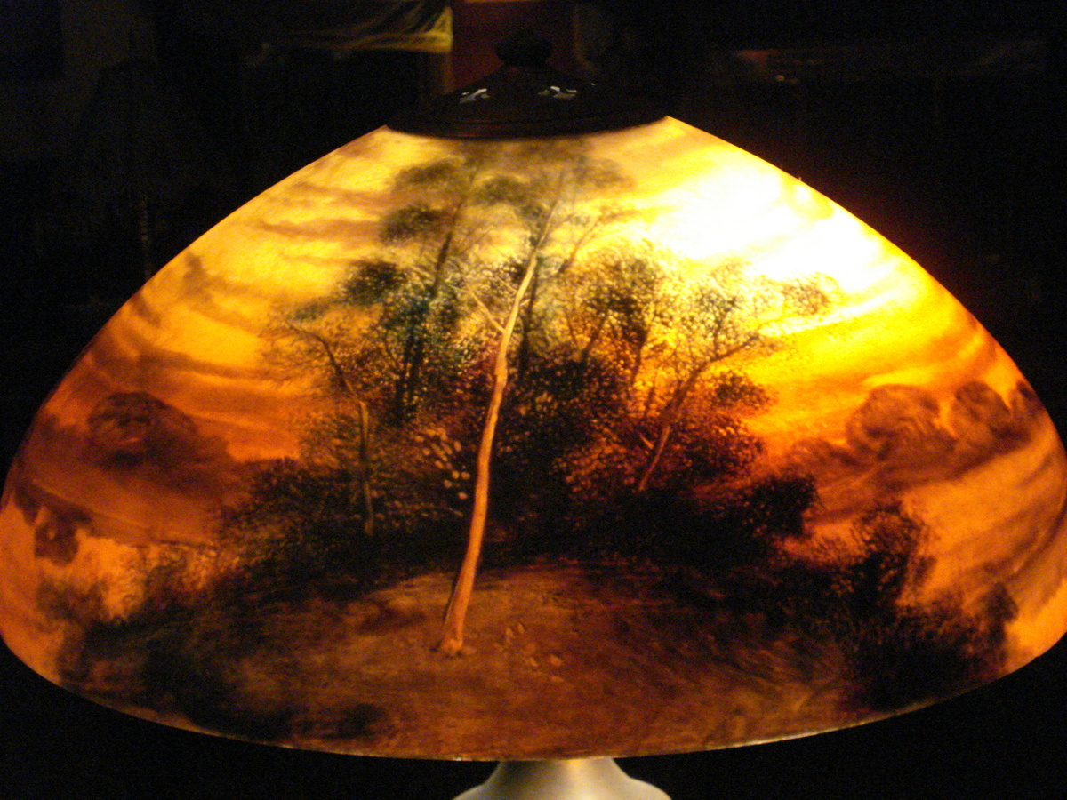Reverse painted lamp beautiful but what is it worth reverse painted lamp beautiful but what is it worth collectors weekly mozeypictures Choice Image