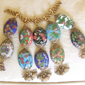 "Cloisonne Hollow, Oval Beads, each about 1.5"" long.  - Asian"