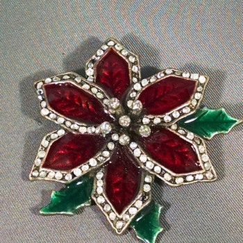 Poinsettia Pin - Info on Mark - Costume Jewelry
