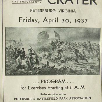 "1937 Program for a Re-Enactment of the Civil War ""Battle of the Crater"" - Military and Wartime"