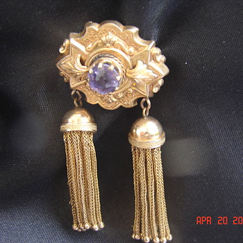 Old Victorian Gold Pin Brooch Pendant With Gold Tassels  - Fine Jewelry