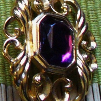 Purple Stone and Gold Filigree Pin - Costume Jewelry