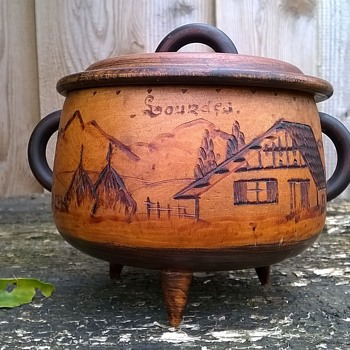 Vintage Handmade Wooden Pot, Lourdes France Souvenir Thrift Shop Find $3.00 - Advertising