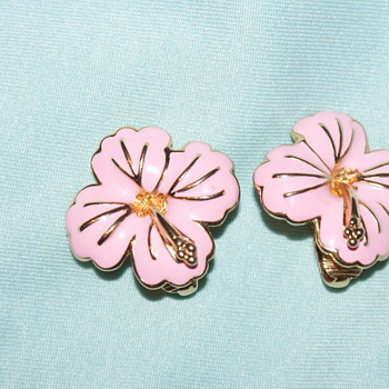 Costume Earrings – Pink Enamel - Costume Jewelry