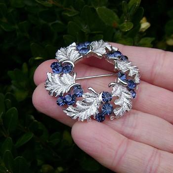 Crown Trifari Wreath Brooch - Costume Jewelry