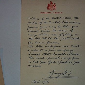 WW1  LETTER FROM KING GEORGE V.