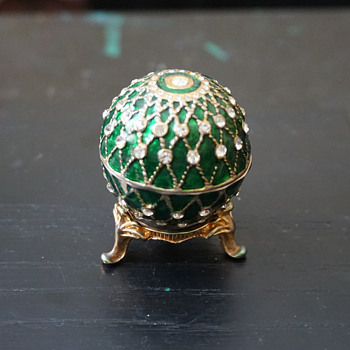 Green Enamel & Rhinestone Egg Trinket Box - Costume Jewelry
