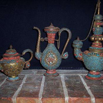 My beautiful set of Tibetan Tea Pots and a ?? - Asian