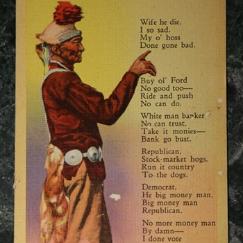 Kind of Racist Postcard about Native American Man - Postcards