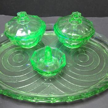 Uranium Glass Dressing Table Set - Glassware