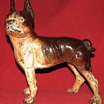 Antique Cast Iron Left Facing Boston Terrier Doorstop - Animals
